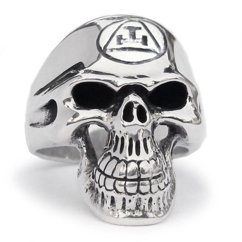 Masonic Order Skull Ring Grim Reaper in Sterling Silver 925