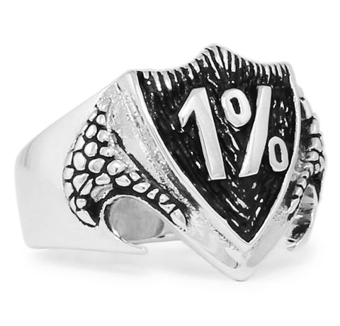 Sterling Silver 1er Outlaw Biker Ring 1% Percent on Dragon Shield