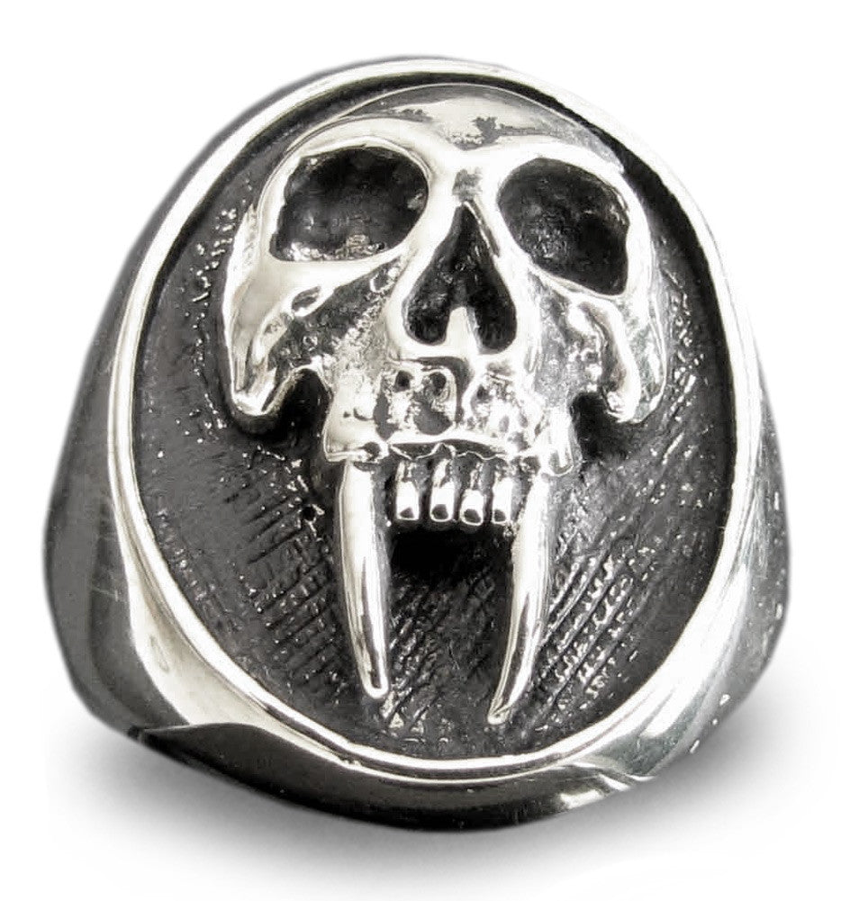 VAMPIRE SKULL RING - Long Tooth Twilight Oval Sterling Silver 925 Ring - Custom Fitted Sizes