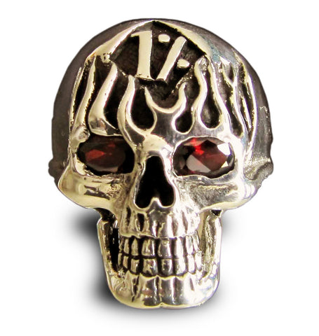 Skull n Flames 1er Outlaw Biker Ring in Bronze with Red CZ Eyes