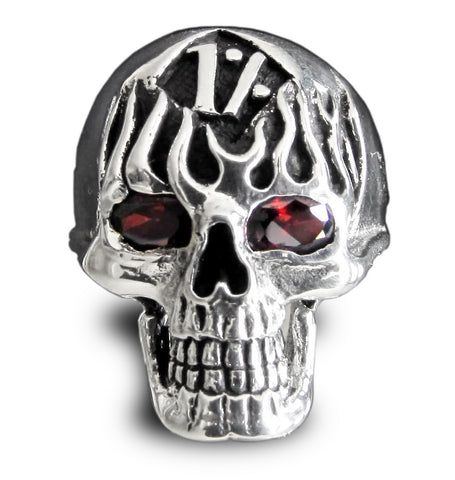 Skull n Flames 1er Outlaw Biker Ring in Sterling Silver 925 with Red CZ Eyes