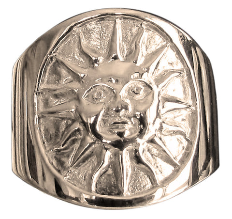 Aztec Sun Symbol Ring in Bronze - Size 16