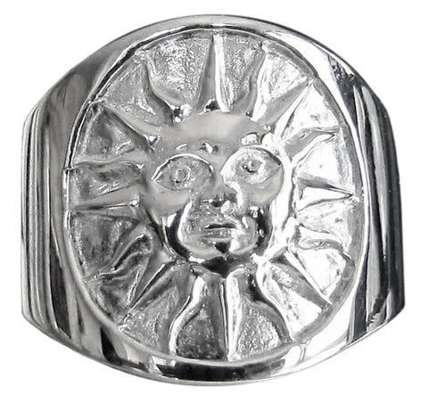 Aztec Sun Symbol Ring in Sterling Silver 925