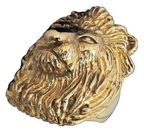 Bronze Large Head of a Lion Ring Detailed Animal Sculpture - King of the Jungle - Size 16