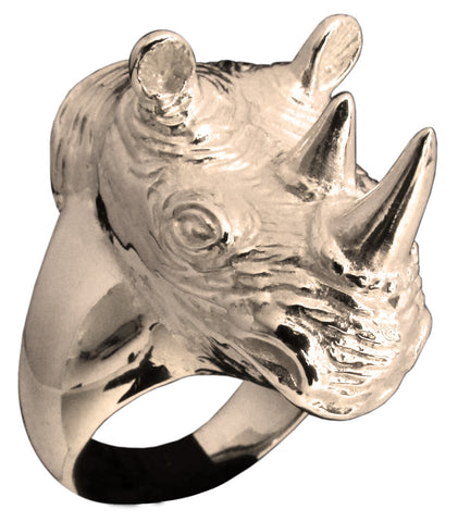 Large Sculpted Rhinoceros Ring Rhino Head Animal in Bronze - Size 16