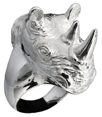 Large Sculpted Rhinoceros Ring Rhino Head Animal in Sterling Silver 925