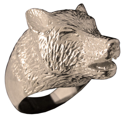 Howling Wolf Ring Sculpted Animal Totem in Bronze - Size 16