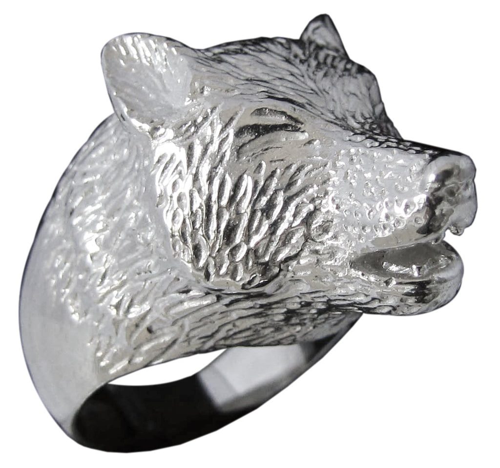 Howling Wolf Ring Sculpted Animal Totem in Sterling Silver 925