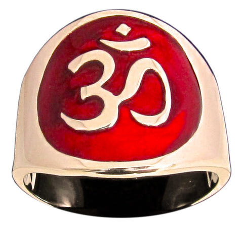 Aum Ring Buddhist Ohm Symbol in Bronze - Size 16