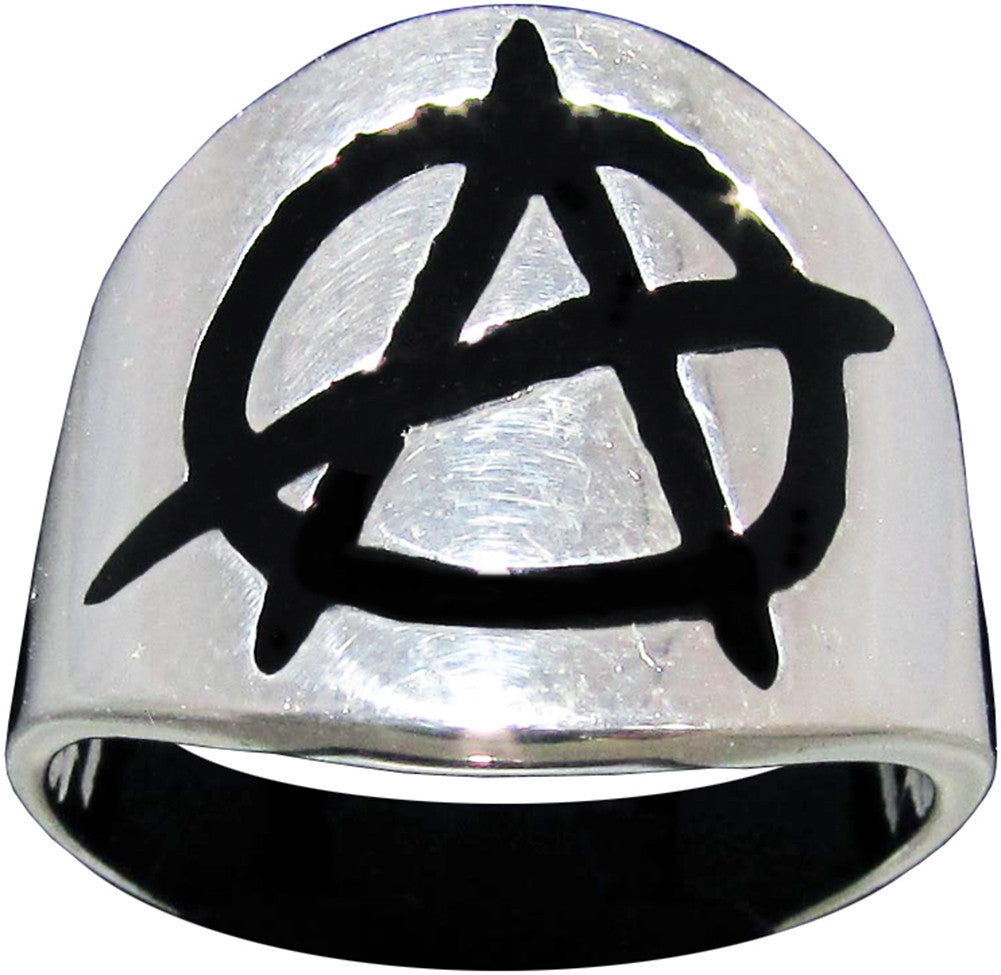 Punk Anarchy Ring Anarchism Symbol in Sterling Silver 925