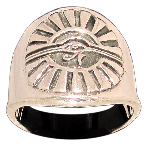 Egyptian Eye of Horus Ring Eye of Ra Udjat in Bronze  - Size 16