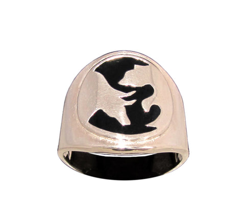 Bull and Bear Ring Stock Market Yin Yang Symbol in Bronze
