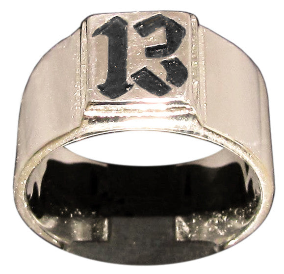 Thirteen 13 Ring Lucky Number Biker Ring in Bronze - Size 16