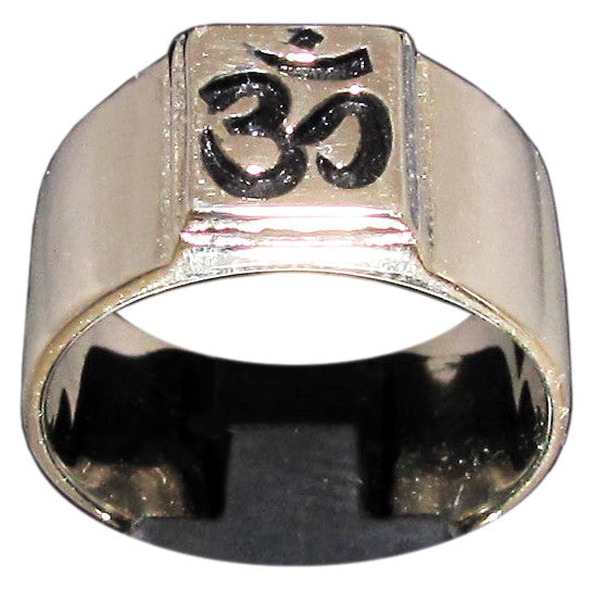 Om Aum Ring Unisex Engraved Band in Bronze - Size 16