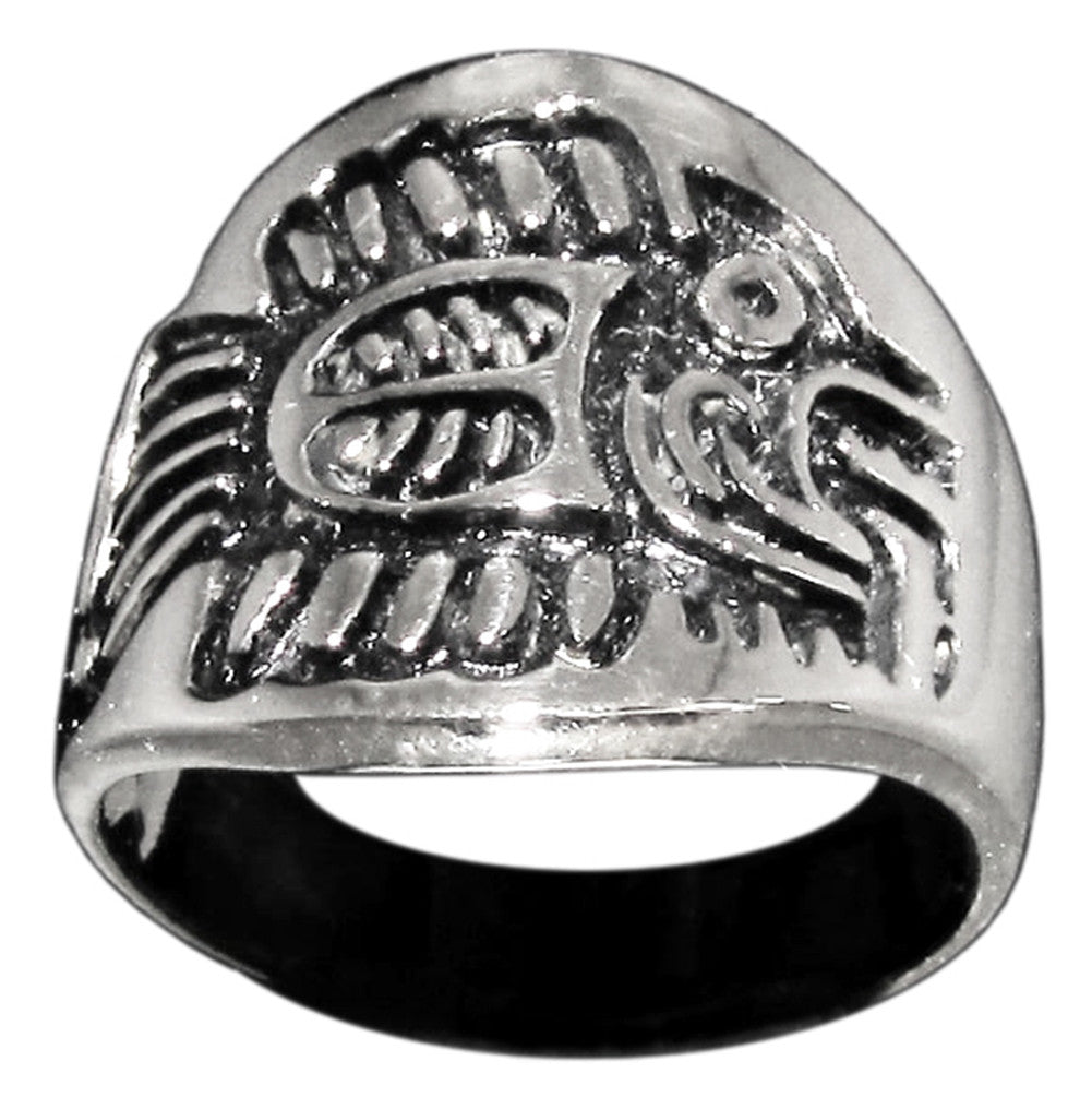 Mayan Fish Symbol Tribal Ring in Sterling Silver 925