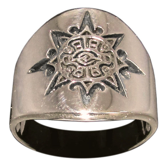 Mayan Sun Symbol Tribal Ring in Bronze Inca Aztec - Size 16