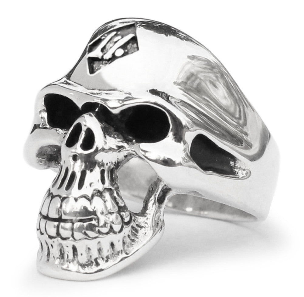 1% 1er Outlaw Biker Skull Ring in Sterling Silver 925 1 Percent