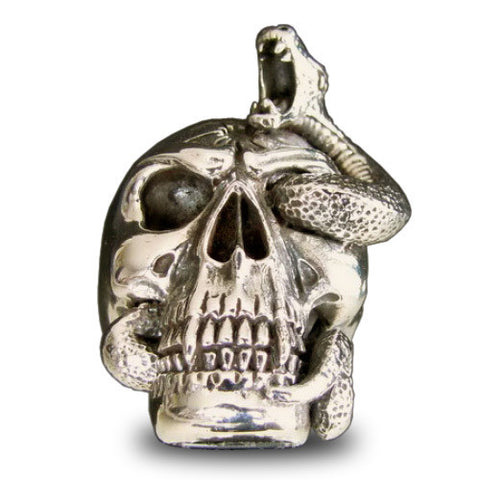 Bronze Skull Ring with Elaborate Entwined Snake Bullet Headshot