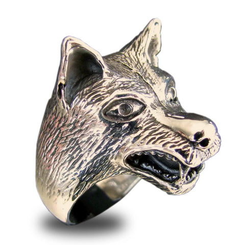 Large Coyote Wolf Ring in Bronze Spirit Animal