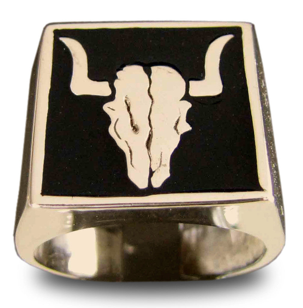 Buffalo Bull Skull Ring Texas Taurus Bronze with Black Enamel - Size 5