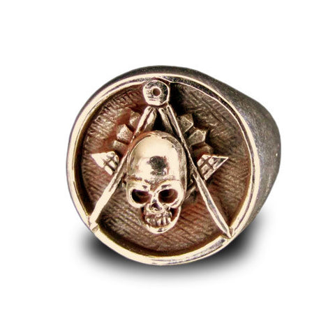 Freemason Ring Skull and Compass Masonic Order in Bronze