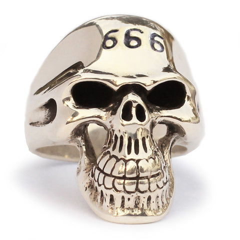 Bronze 666 Grim Reaper Skull Ring Doomsday Biker Ring