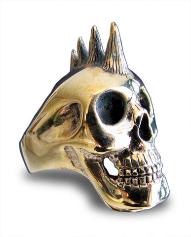 Punk Rocker Skull Ring with Mohawk in Bronze