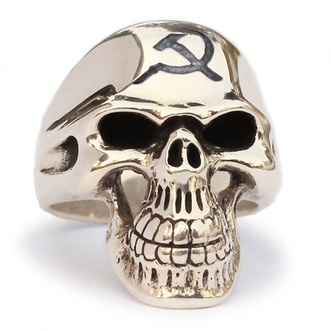 CCCP Skull Ring Hammer and Sickle Communist Crest in Bronze