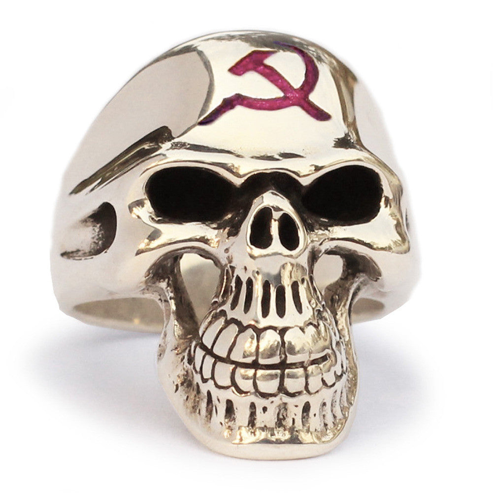 CCCP Skull Ring Hammer and Sickle Communist Crest in Bronze with Red Enamel