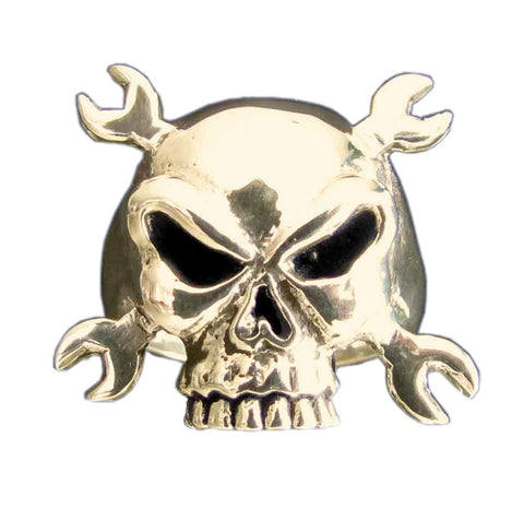 Motorcycle Mechanic From Hell - Cross Wrenches Skull Ring in Bronze