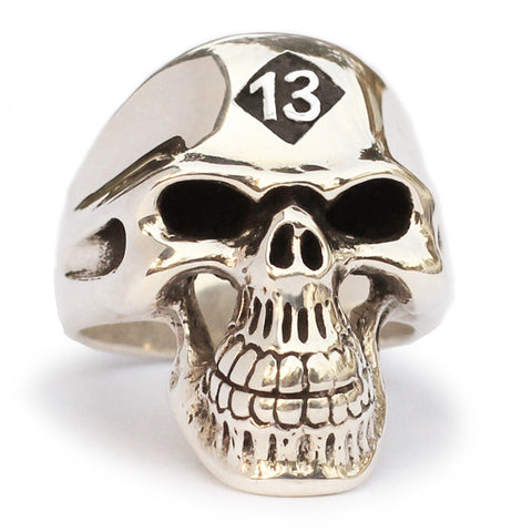 13 Outlaw Biker Skull Ring Grim Reaper in Bronze
