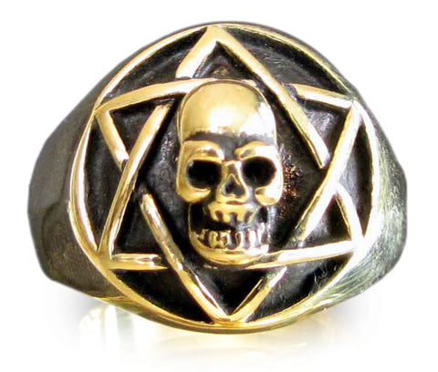 Bronze STAR of DAVID SKULL Ring Hexagram Skull Occult Skull Symbol Ring