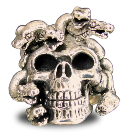 Bronze Medusa Skull Ring with Intricately Carved Snakes