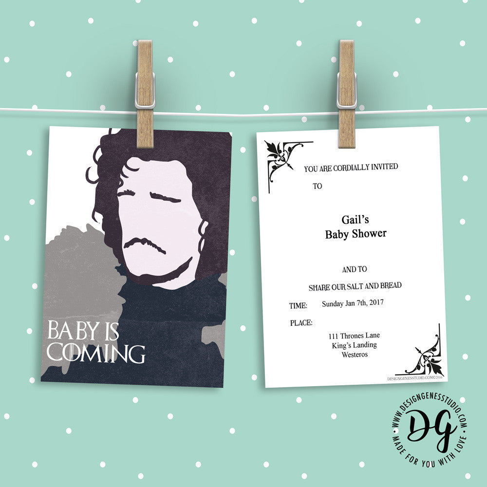 Baby Shower Karte Text.Game Of Thrones Baby Shower Invitation And Ideas