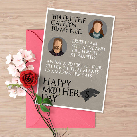 Game of Thrones mother's day card Catelyn and Ned Stark