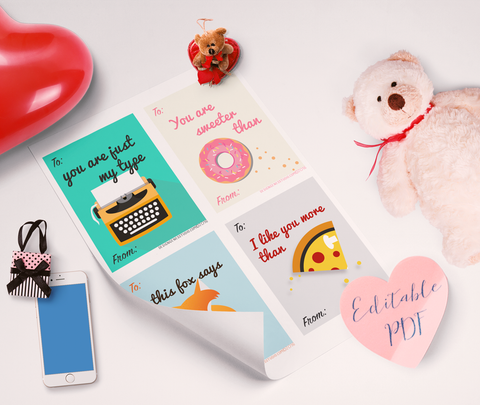 4 printable valentine's cards editable pdf for kids and adults