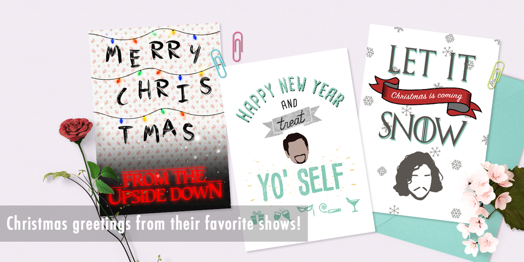 Game of Thrones, Parks and Recreation, Stranger Things Christmas Cards