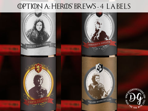 Game of Thrones Heroes Wine labels Pack of 4