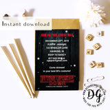 Printable Stranger things Christmas invitation editable template