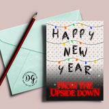 Printable Stranger things Happy New Year from the Upside down card