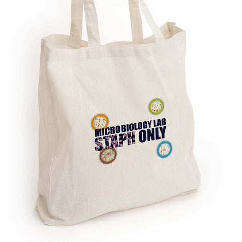 "Microbiology canvas tote, ""Microbiology lab staph only"" Med lab tech gift"