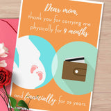 financially supportive Mom, mother's day card, witty mothers day card, mom best friend, thank you mom, card for mum