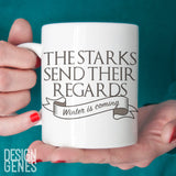 Arya Stark mug, Starks send their regards, Game of Thrones mug, Valar morghulis, ASOIAF mug, GOT fan gift, game of thrones gift, Arya mug