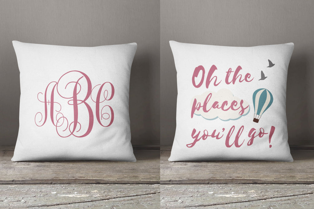 with store pillow piping monogrammed