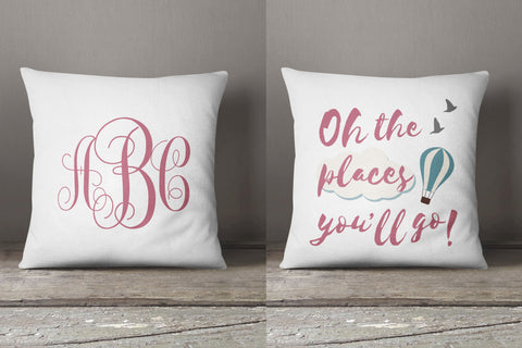 New baby monogram gift, Dr.Seuss quote, monogrammed pillow, personalized baby name gift, inspirational gift for baby girl, baby shower gift