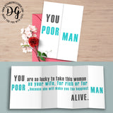 Funny wedding card for groom, sarcastic wedding card, you poor man, foldout card, humor wedding card, sarcastic wedding gift, wedding humor