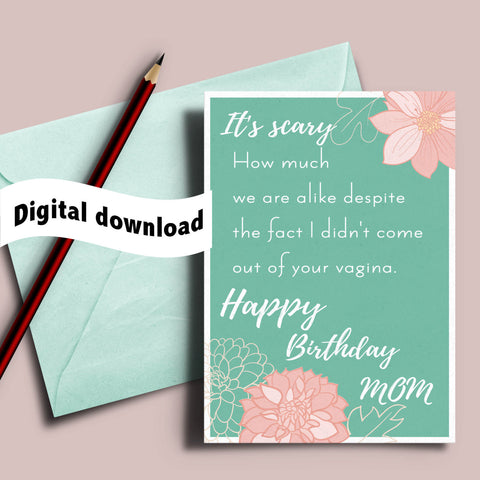 photograph about Printable Birthday Cards for Mom Funny referred to as Printable humorous birthday card for stepmom / adoptive mother