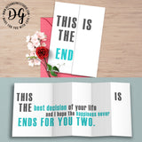 Funny card for groom, sarcastic wedding card, this is the end, foldout card, humor wedding card, sarcastic wedding gift, card for bride