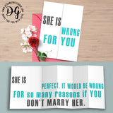 Snarky wedding card, Funny card for groom, sarcastic wedding card, she is wrong, foldout card, humor wedding card, sarcastic wedding gift
