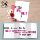 Funny birthday card for her, getting old, hello wrinkle, snarky card for her, bff bday, hidden message card, sarcastic card, foldout card